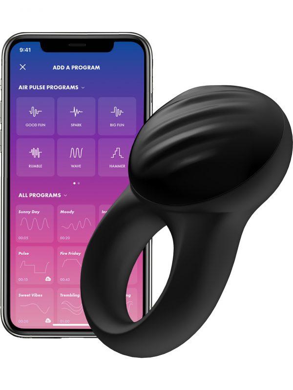 Satisfyer Connect Signet Ring, Ring Vibrator, svart